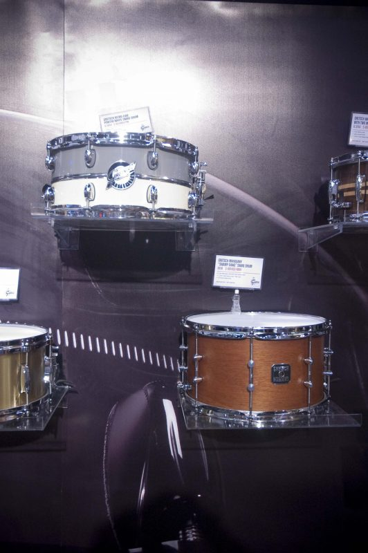 """Gretsch's Retro-Luxe snare drum (top) and mahogany """"Swamp Dawg"""" snare, Winter NAMM 2013"""