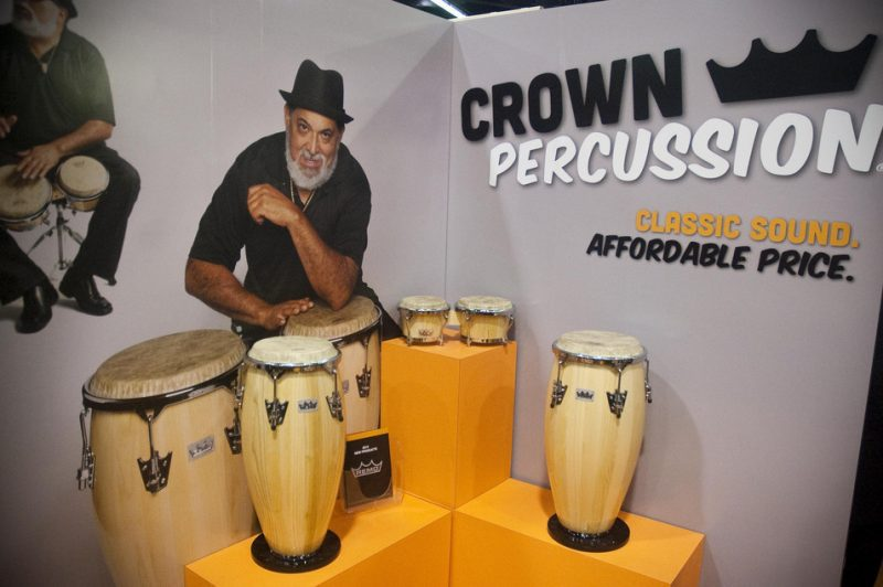 A display for REMO's Crown Percussion congas (featuring Poncho Sanchez) at Winter NAMM 2013