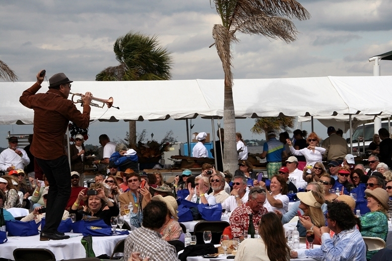 Trumpeter Rick Braun added table dancing to his skill set at the 2013 Punta Gorda Wine & Jazz Festival