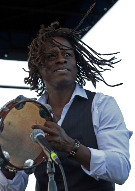 Brazilian percussionist Gibi, a member of the Sergio Mendes band, at the 2013 Punta Gorda Wine & Jazz Festival