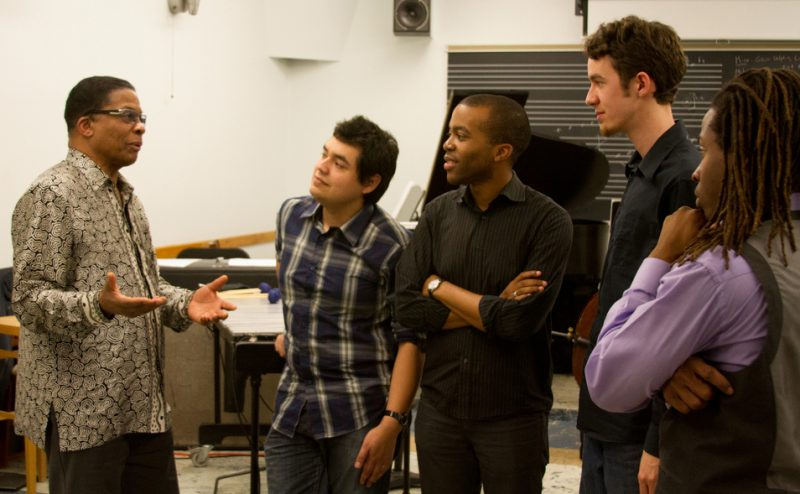Herbie Hancock instructs students in the Thelonious Monk Institute of Jazz Performance at the UCLA Herb Alpert School of Music; Dec. 6, 2012: Hancock, Diego Urbano, Josh Johnson, Miro Sprague and Jonathan Pinson (from left)
