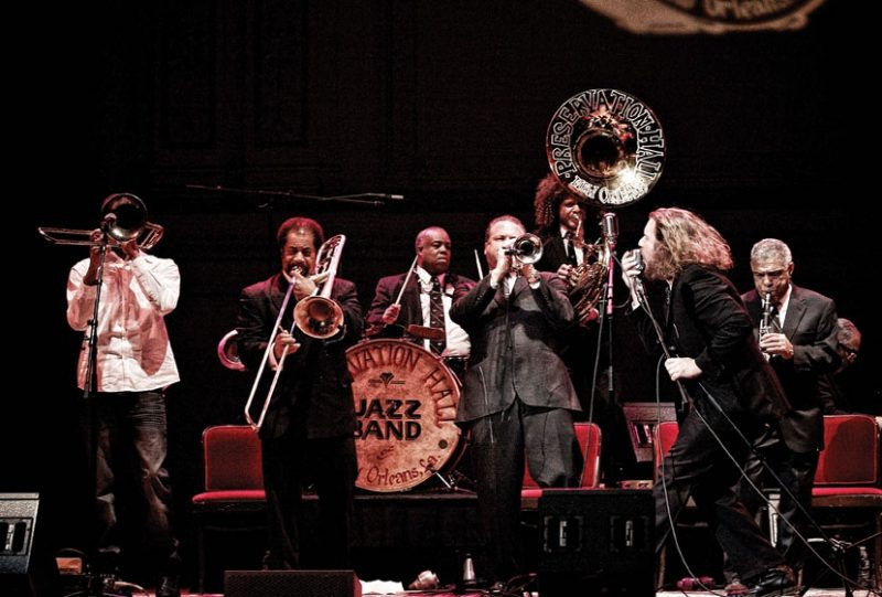 Jim James of My Morning Jacket sings with Preservation Hall Jazz Band