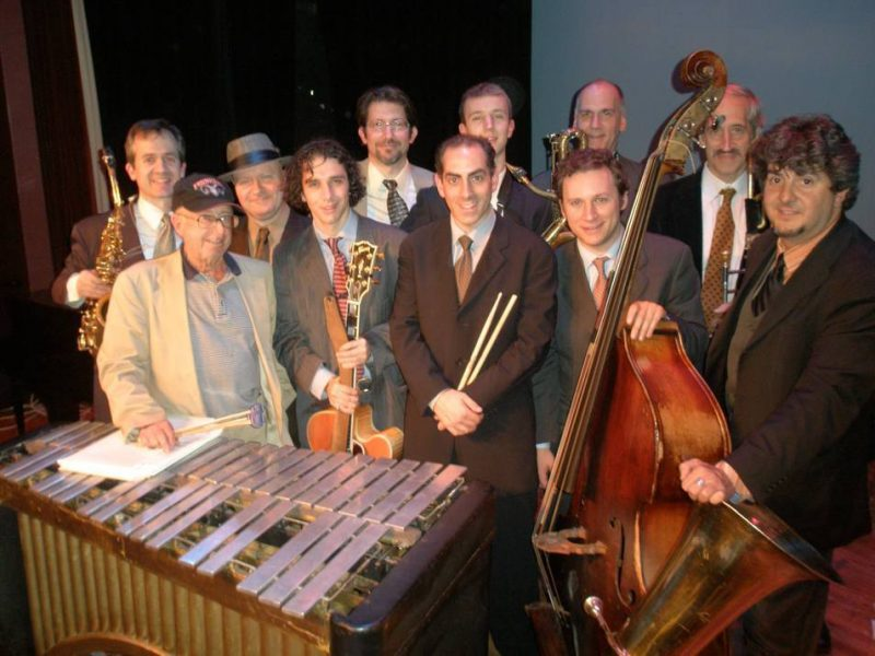 "The ""New"" Teddy Charles Tentet (Charles is far left, in front of his vibes), after completing a performance for the Bronx Jazz Series at the Riverdale Y in November 2008"