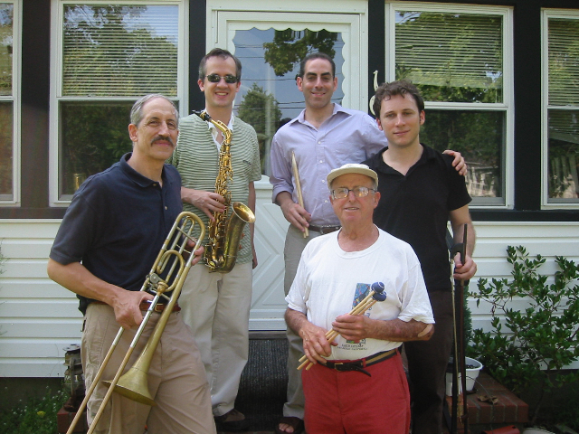 (clockwise from top left) Chris Byars, Stefan Schatz, Ari Roland, Teddy Charles and John Mosca at Charles' house in Riverhead, Long Island, in 2007