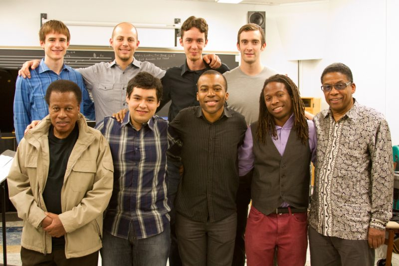 Wayne Shorter and Herbie Hancock with UCLA's Monk Fellows in Dec. 2012: (top from left) Eric Miller, Dave Robaire, Miro Sprague and Mike Cottone (bottom from left) Shorter, Diego Urbano, Josh Johnson, Jonathan Pinson and Hancock