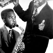 Byard Lancaster (r.) with 12-year-old Jaleel Shaw, circa 1991 image 0