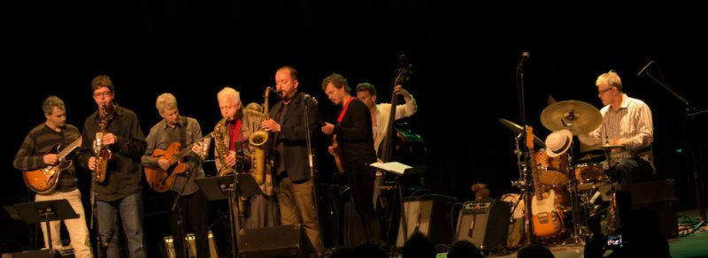 Ben Monder, Chris Cheek, Steve Cardenas, Billy Drewes, Jerome Harris (obscured), Bill McHenry, Jakob Bro, Larry Grenadier, Matt Wilson, Paul Motian tribute concert, NYC, 3-13