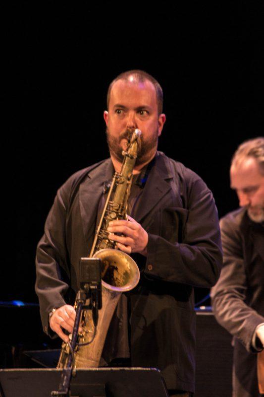 Bill McHenry, Reid Anderson, Paul Motian tribute concert,  NYC, 3-13.jpg