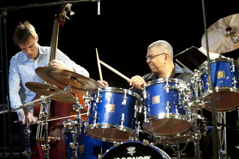 Bassist Julian Anderson-Bowes with Jack DeJohnette in performance at Humber College in Toronto in March 2013