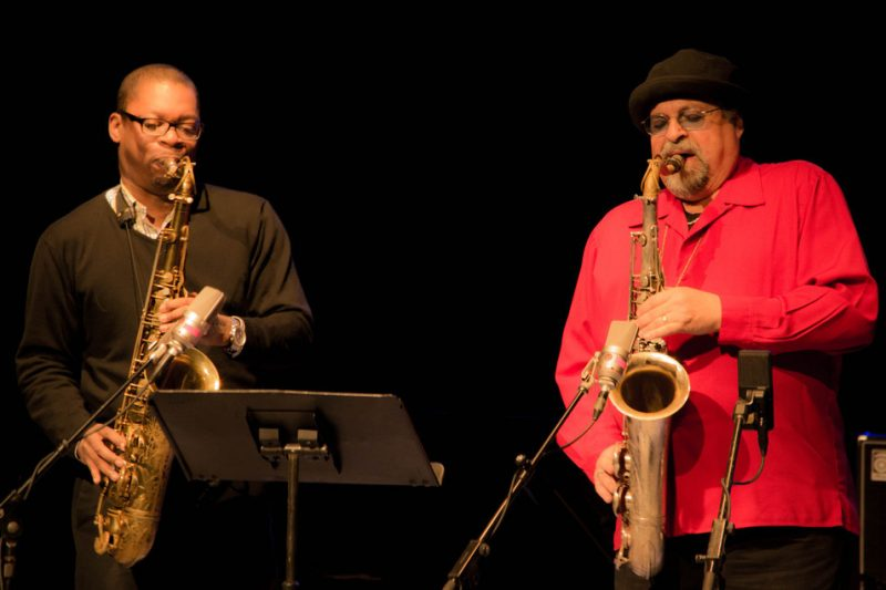 Ravi Coltrane, Joe Lovano, Paul Motian tribute concert, Symphony Space, NYC, 3-13.jpg