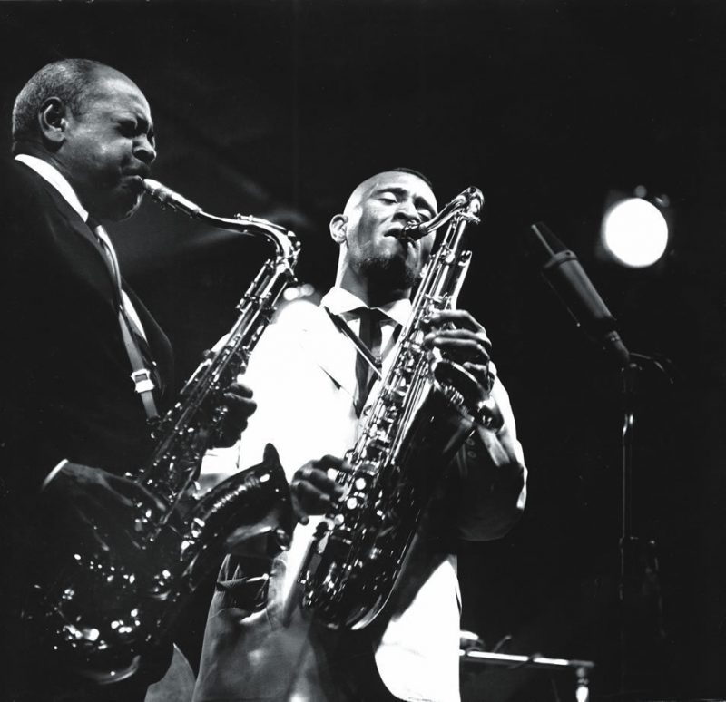 Sonny Rollins with Coleman Hawkins at Newport, 1963