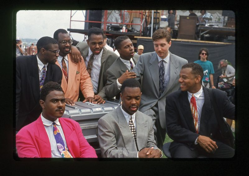 Christian McBride (top, third from left), between Carl Allen (left) and Roy Hargrove, as part of the Jazz Futures, JVC Newport Jazz Festival, 1991