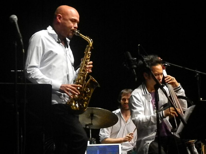 MIguel Zenon, Dan Weiss and Dana Leong in performance with Miguel Zenon at the Inter American University of Puerto Rico