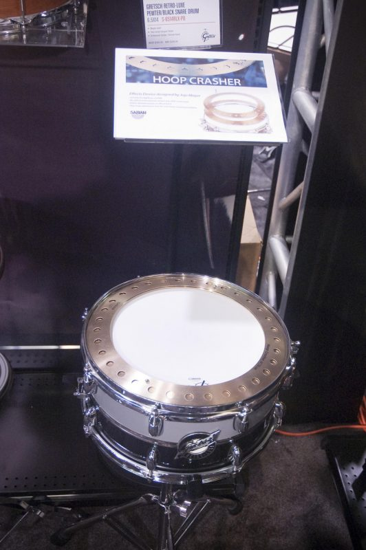 Gretsch's Retro-Luxe snare outfitted with the Jojo Mayer-designed Hoop Crasher by Sabian, Winter NAMM 2013