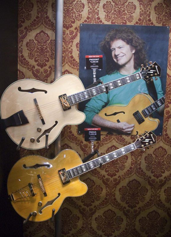 Ibanez's revamped Pat Metheny signature guitars: the PM200-NT (top) and the more affordable PM2-AA, Winter NAMM 2013