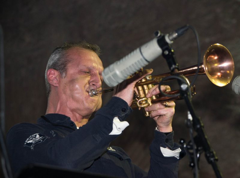 Turkish trumpeter Imer Demirer rehearses for International Jazz Day concert, Istanbul, April 2013