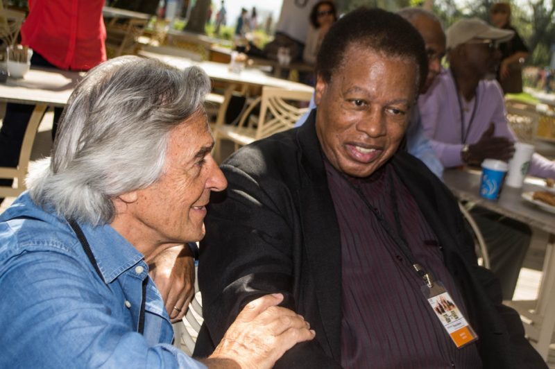 John McLaughlin catches up with Wayne Shorter prior to press conference for International Jazz Day, Istanbul, April 2013