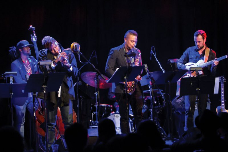 NEXT Collective members Ben WIlliams, guest Christian Scott aTunde Adjuah, Logan Richardson and Matthew Stevens, Le Poisson Rouge, NYC 2-13