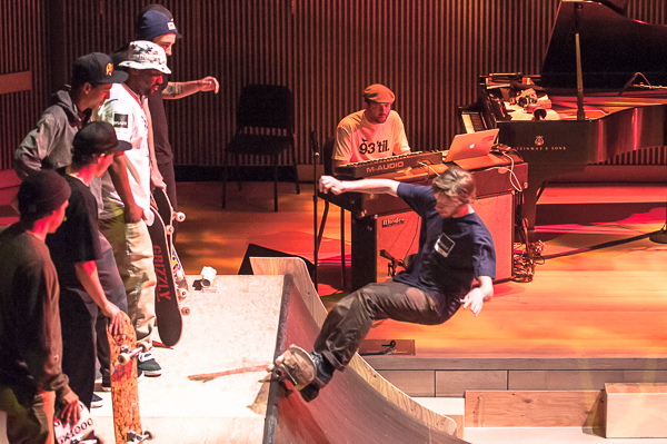 Skateboarders and Jason Moran (on keys) at the SFJAZZ Center, May 4, 2013