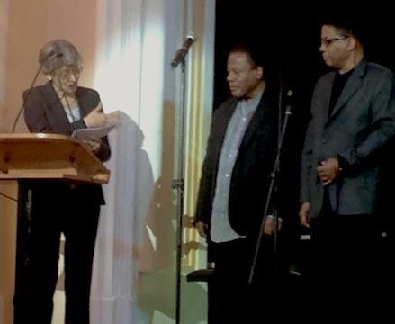 UNESCO General-Director Irina Bokova honors Wayne Shorter (center) as Herbie Hancock looks on. Galatasaray High School, Istanbul, 4-13