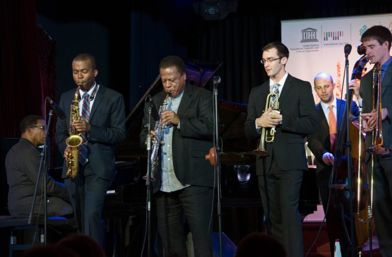 Herbie Hancock (far left) and Wayne Shorter (3rd from left) sit in with the Thelonious Monk Institute of Jazz All-Star Band at the Galatasaray High School in Istanbul, April 2013