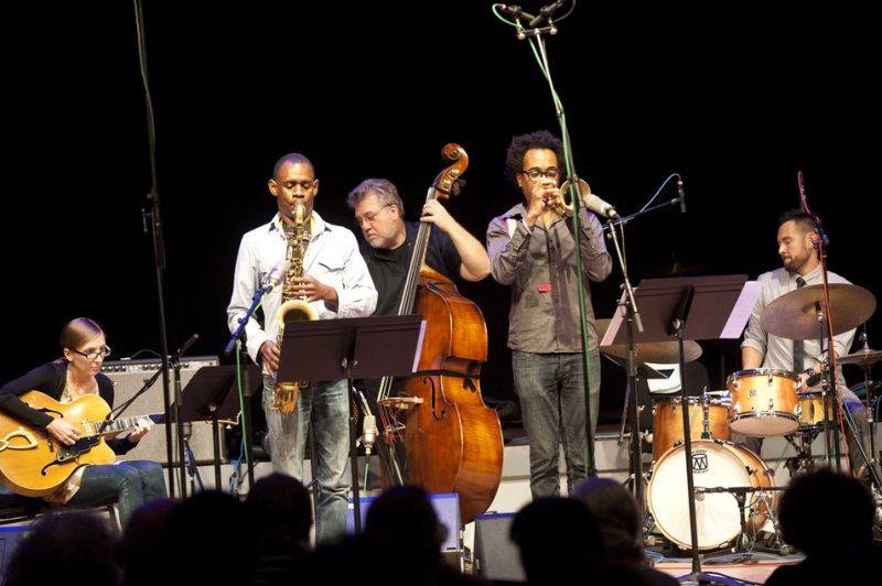 Tomas Fujiwara & The Hook Up at Vision Festival 2013 in Brooklyn: Mary Halvorson, Brian Settles, Michael Formanek, Jonathan Finlayson and Fujiwara (from left)