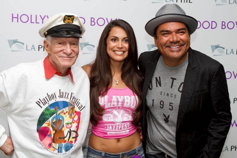 Hugh Hefner, 2013 Playmate of the Year Raquel Pomplun and Master of Ceremonies George Lopez at the 2013 Playboy Jazz Festival