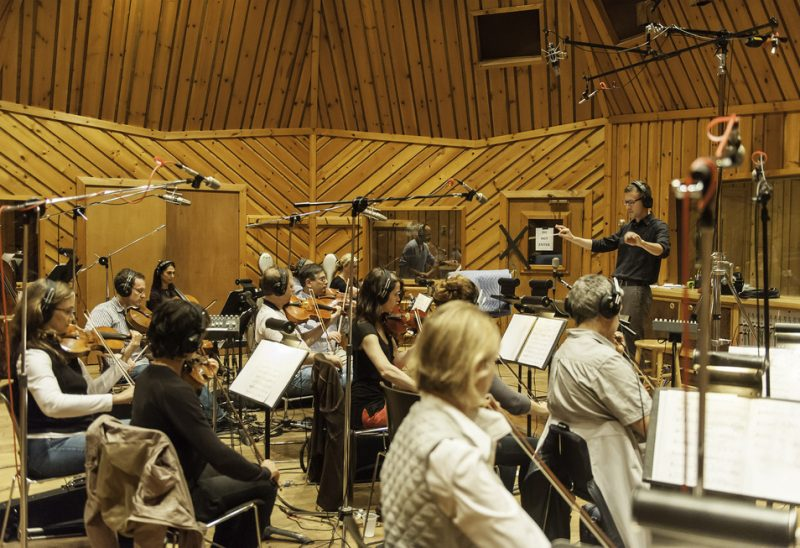 "At Avatar Studios in New York City, Dan Coleman conducts the strings for Joshua Redman's ""Walking Shadows,"" September 2012"