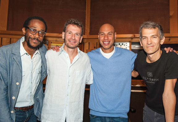 Brian Blade, Larry Grenadier, Joshua Redman and Brad Mehldau at Avatar Studios for the recording of Redman's 'Walking Shadows' album