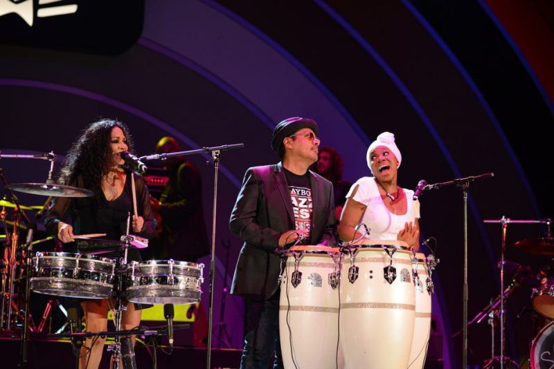 Sheila E., George Lopez and India.Arie (from left) at the 2013 Playboy Jazz Festival