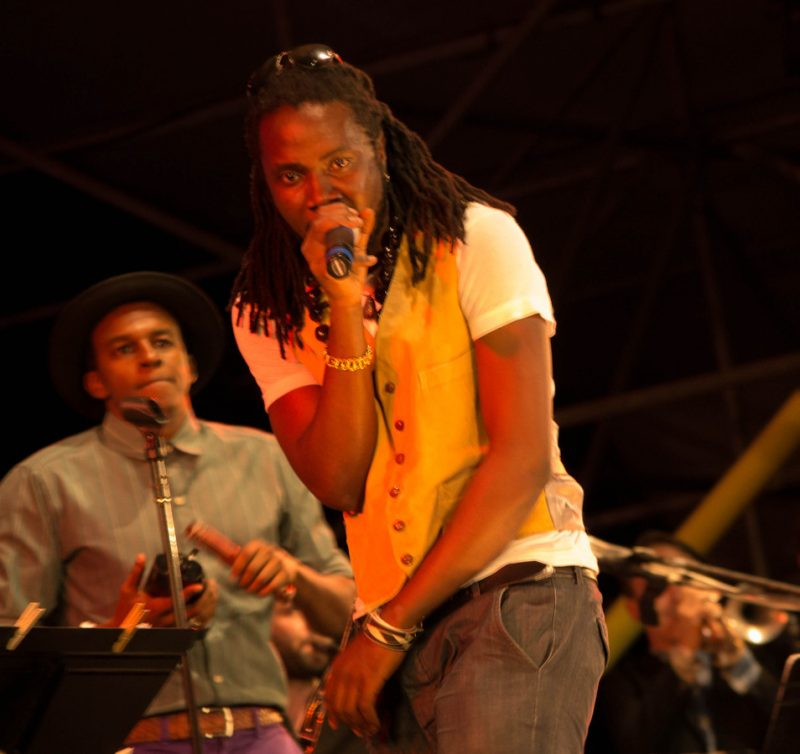 Bajah (r.), with Ahmed of Sinkane, Lincoln Center Out of Doors, NYC, 7-13