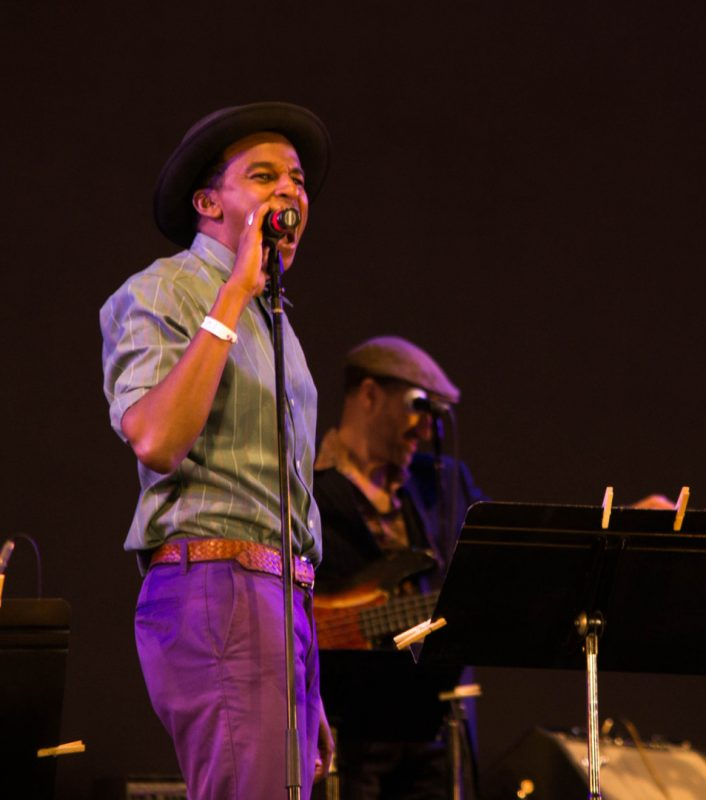 Ahmed Abdullahi Gallab of Sinkane (l.) with guitarist Oren Bloedow, Lincoln Center, NYC, 7-13