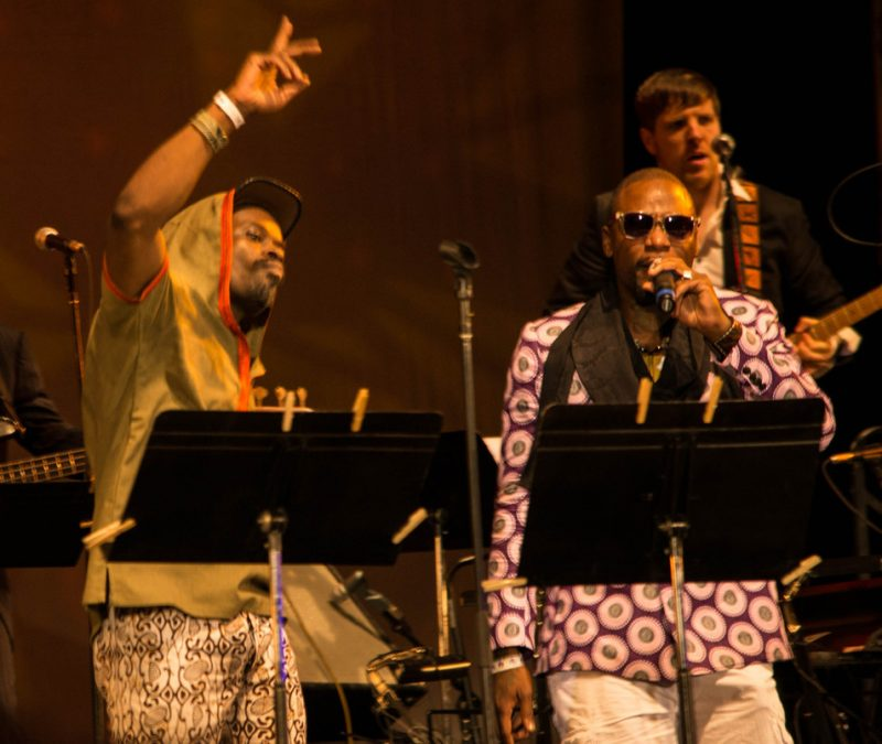 l. to r.: Sahr Ngaujah, M1 of Dead Prez, guitarist Luke O'Malley of Superhuman Happiness, Lincoln Center Out of Doors, 7-13