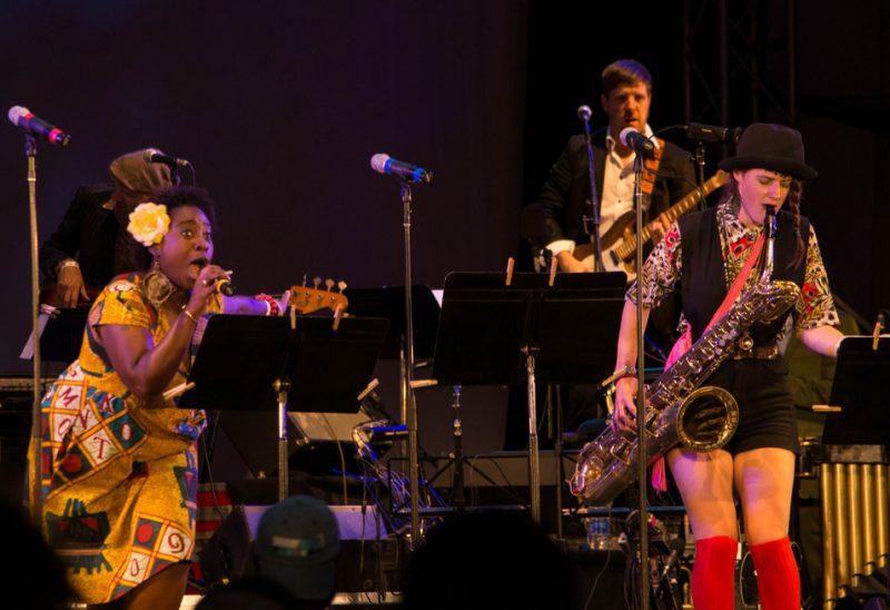 Abena Koomson and Kalmia Traver with Luke O'Malley on guitar, Lincoln Center, NYC 7-13