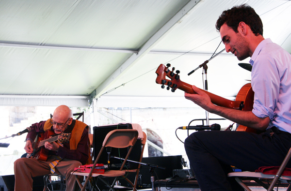 Jim Hall (left) and Julian Lage at the 2013 Newport Jazz Festival
