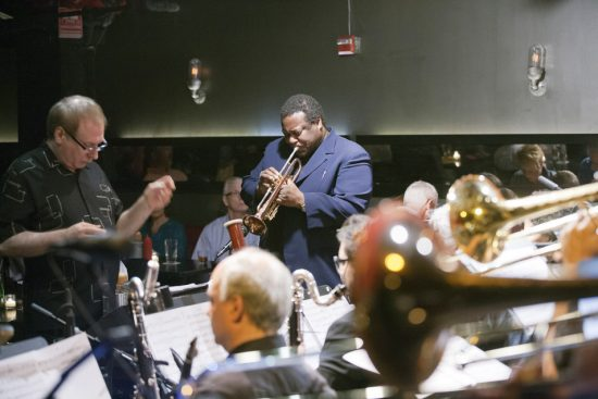 David Weiss (left, conducting orchestra) and trumpeter Wallace Roney premiere long-lost Wayne Shorter music at NYC's Jazz Standard, July 2013 image 0