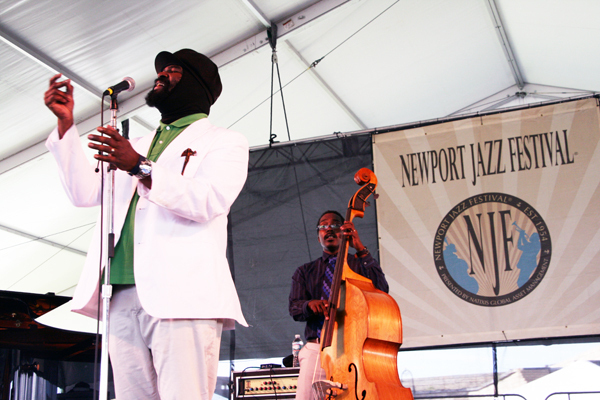 Gregory Porter, with bassist Aaron James, at the 2013 Newport Jazz Festival