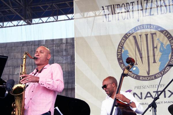 Joshua Redman (left) and Reuben Rogers at the 2013 Newport Jazz Festival