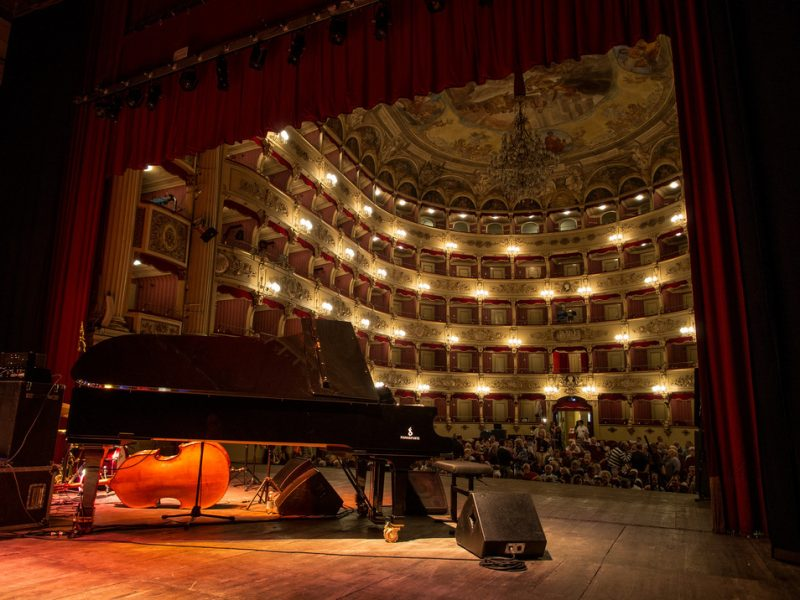 The Teatro Morlacchi in Perugia, Italy, 'round midnight