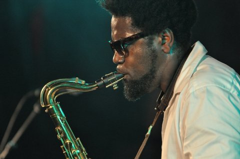 Soweto Kinch in performance at the Canary Wharf Jazz Festival in August 2013