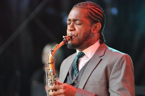 Nathaniel Facey in performance at the Canary Wharf Jazz Festival in August 2013