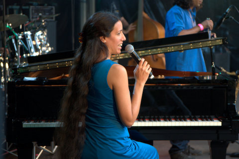 Zoe Rahman in performance at the Canary Wharf Jazz Festival in August 2013