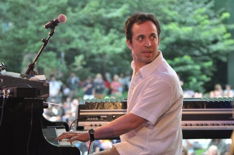 Jason Rebello in performance at the Canary Wharf Jazz Festival in August 2013