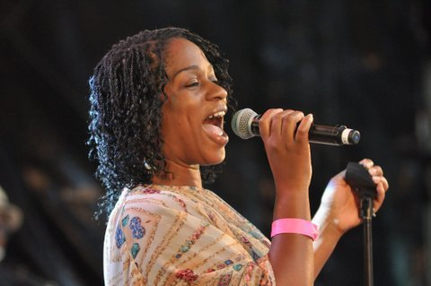Joy Rose in performance at the Canary Wharf Jazz Festival in August 2013