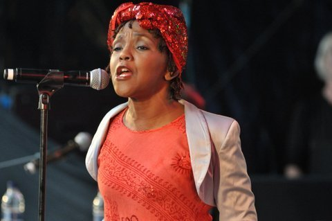 Carleen Anderson in performance at the Canary Wharf Jazz Festival in August 2013