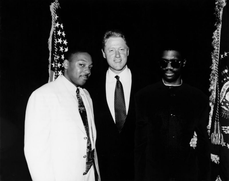 Wynton Marsalis, President Clinton and Marcus Roberts after playing a democratic fundraiser in Manhattan's Waldorf-Astoria hotel on June 24, 1996.