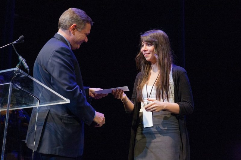 Melissa Aldana accepts first place at the 2013 Thelonious Monk International Jazz Saxophone Competition