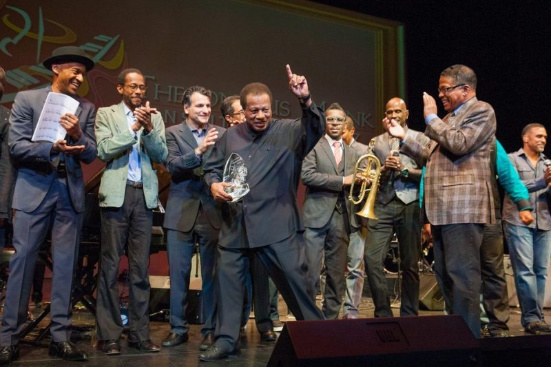 Among colleagues and admirers, Wayne Shorter accepts a lifetime achievement award at the 2013 Thelonious Monk International All-Star Gala Concert