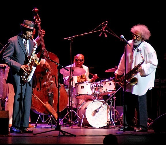 Ornette Coleman with Roy Haynes and Sonny Rollins in performance at Beacon Theatre