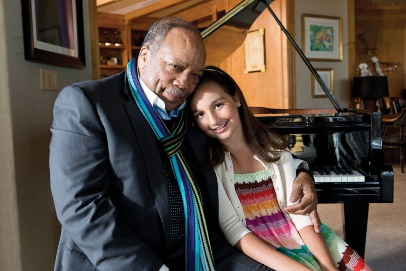 Emily Bear with Quincy Jones, founder of Qwest TV
